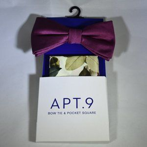 Apt. 9 NWT Bow Tie & Pocket Square Set Pebble Mult